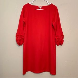 💙JANE&DELANCY RED RUCHED SLEEVE DRESS NWT SZ M